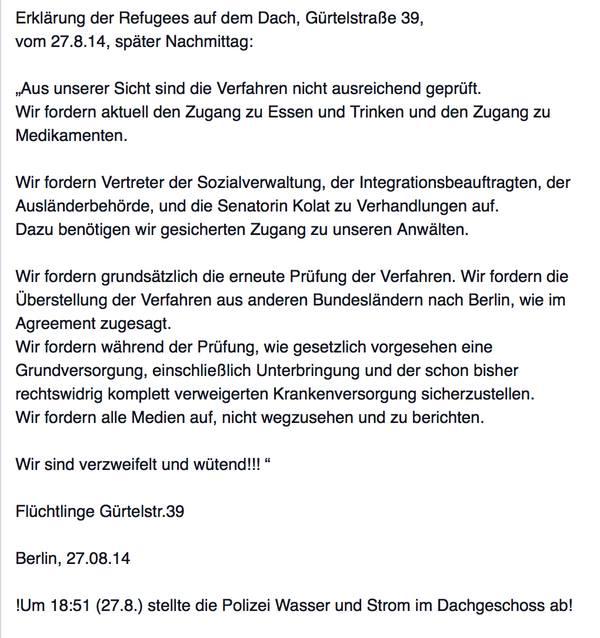 erklärung der refugees auf dem dach, gürtelstrasse 39 berlin | the, Einladung
