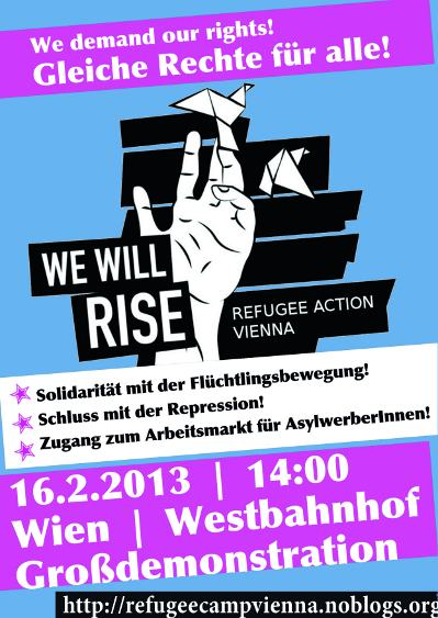 Vienna, 16th of February: big solidarity demo for refugee protest - solidarity with refugee struggle everywhere!